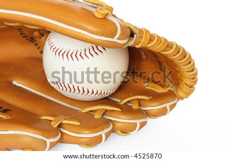 Baseball catcher mitt with ball isolated on white background close up - stock photo