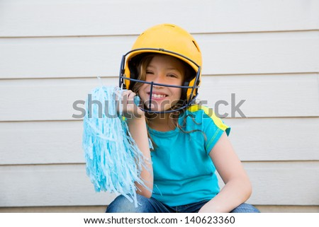 baseball cheerleading pom poms girl happy smiling with yellow helmet - stock photo