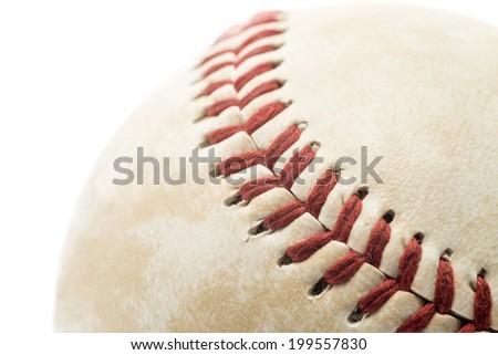 baseball close up isolated on white, soft focus - stock photo