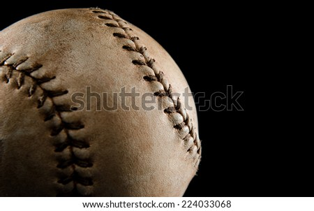Baseball close up on black - stock photo