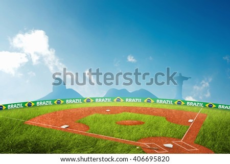 Baseball field 3D Illustration