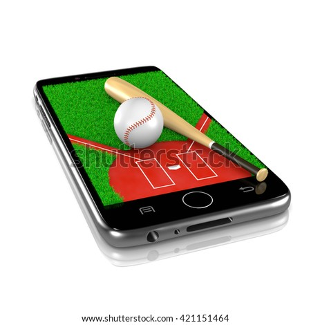 Baseball Field with Ball and Bat on Smartphone Display 3D Illustration Isolated on White Background - stock photo