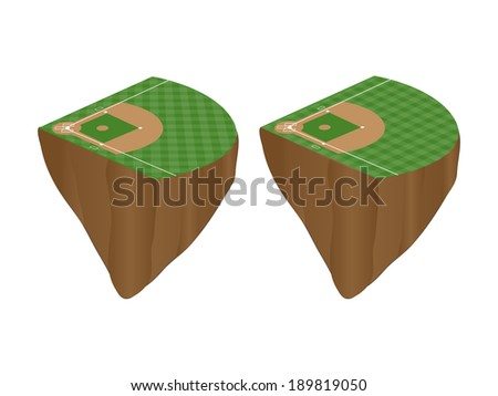 Baseball Fields with Vertical and Horizontal Pattern Floating Islands - stock photo