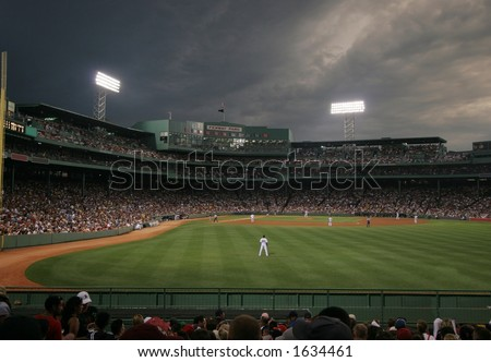 baseball game at Fenway Park, Boston, MA - stock photo