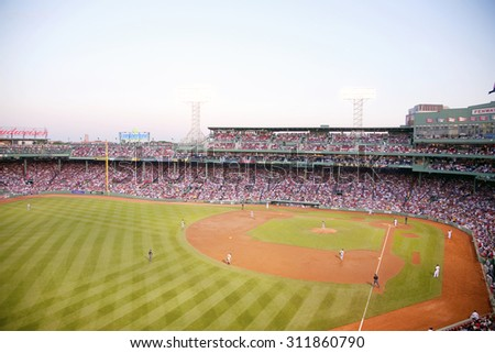 Baseball game features Boston Red Sox who defeat Minnesota Twins 6 to 2 as 38,144 attend May 20, 2010 Major League baseball game at Fenway Park, Boston, MA., USA - stock photo