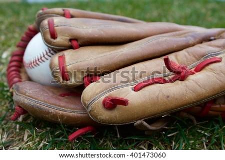baseball glove and ball - stock photo