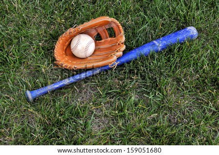 Baseball Glove and Bat in Green Grass Horizontal With Copy Space  - stock photo