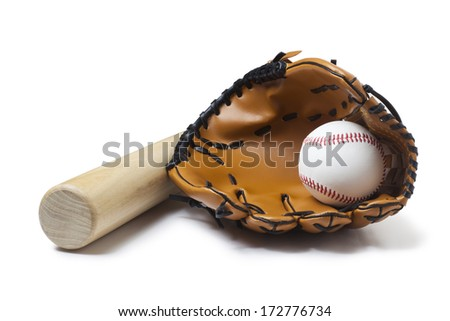 Baseball glove, bat and ball - stock photo
