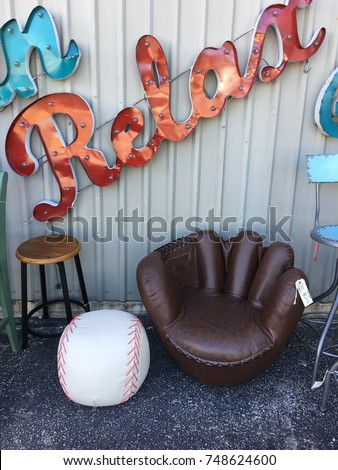 Baseball Glove Chair And Baseball Ottoman Close Up Of Stitching Leather  Seating To Relax In While