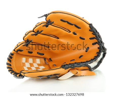 Baseball glove isolated on white - stock photo