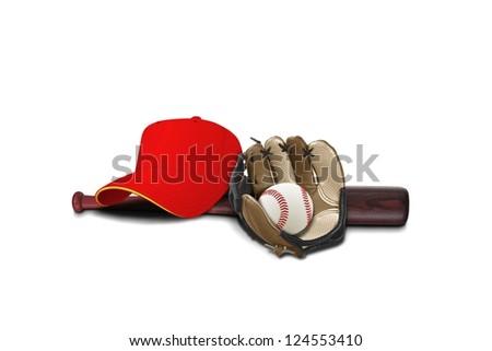 Baseball glove with cap ,ball and bat