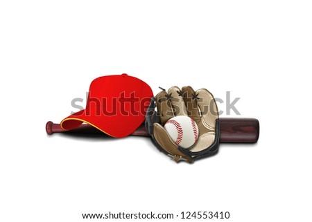 Baseball glove with cap ,ball and bat - stock photo