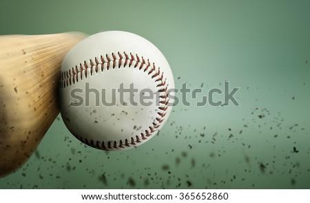 baseball hit  - stock photo