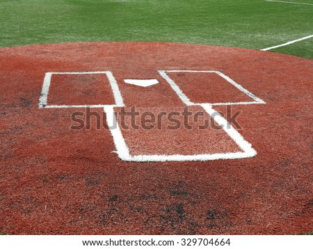 Baseball - Home Plate and Batter's Box on a turf field. - stock photo
