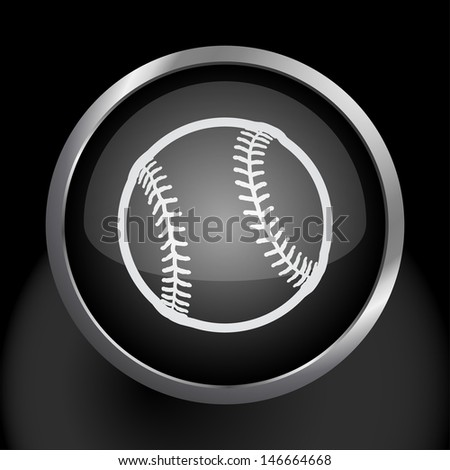 Baseball Icon Symbol. Raster version, vector also available. - stock photo