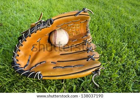 Baseball in Glove - stock photo
