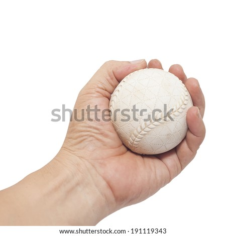 baseball in hand isolated