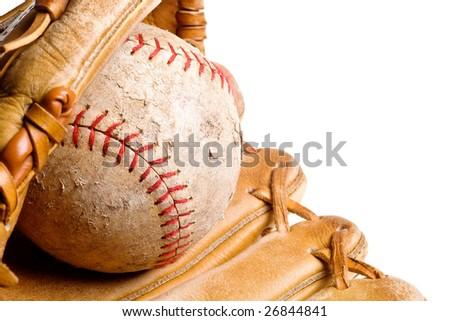 baseball in mitt isolated on white background - stock photo