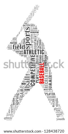 Baseball info-text graphic and arrangement concept on white background (word cloud) - stock photo