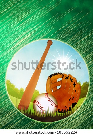 Baseball invitation poster or flyer abstract background with empty space - stock photo
