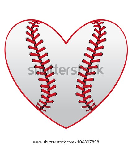 Baseball leather ball as a heart for sport emblem design, such logo. Vector version also available in gallery - stock photo