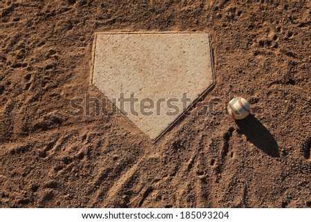 Baseball near Home Plate with Room for Copy