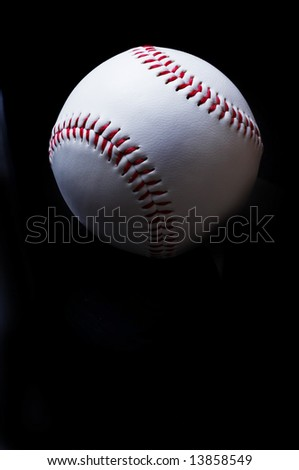 Baseball on a black background