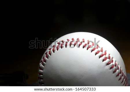 Baseball on Black Background