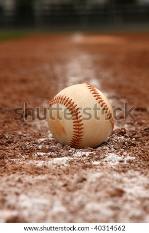 Baseball on the chalk line