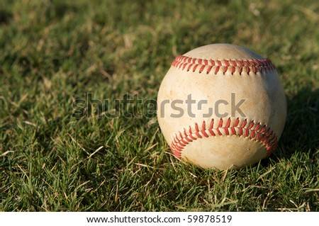 Baseball on the Outfield Grass with room for copy