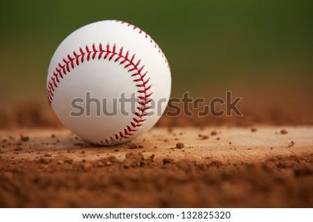 Baseball on the Pitchers Mound Close Up - stock photo