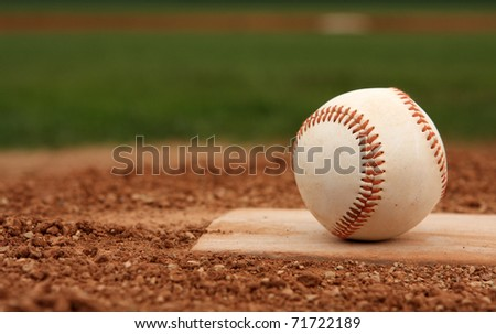 Baseball on the Pitchers Mound with room for copy - stock photo