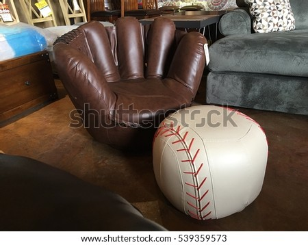 Baseball Ottoman And Baseball Glove Chair Furniture For A Sports Fan , Sit  Down In The