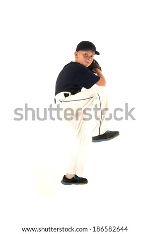 baseball pitcher in pitching motion throwing ball - stock photo
