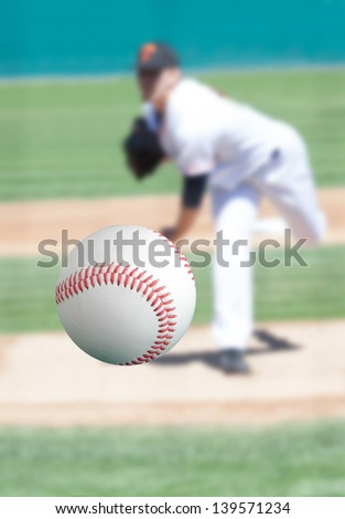 Baseball pitcher throwing the ball right at you - stock photo