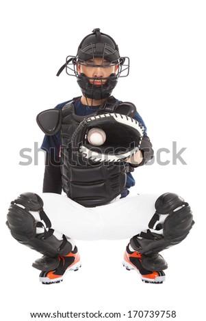 Baseball Player, Catcher, catched a baseball  - stock photo