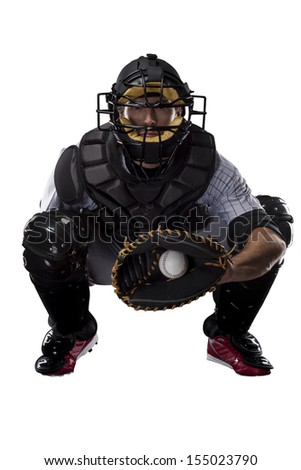 Baseball Player, Catcher, catching a ball on a white background. - stock photo