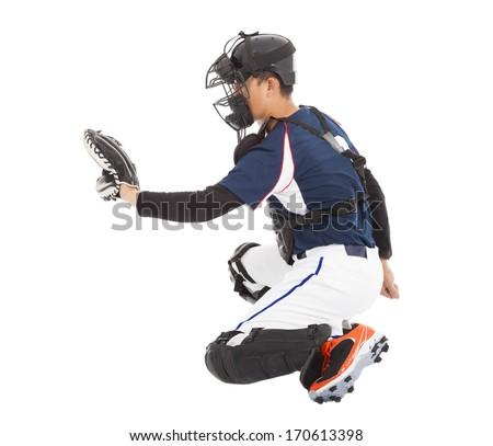 Baseball Player, Catcher,  kneeling gesture  to catching - stock photo