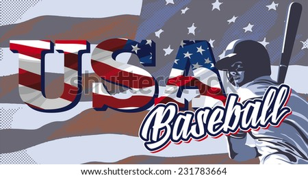baseball player hitting against the background of the American flag - stock photo
