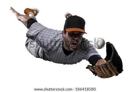 Baseball Player in a Orange uniform, on a white background. - stock photo