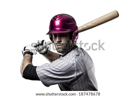 Baseball Player in a Pink uniform, on a white background. - stock photo