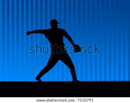 Baseball player in action. Illustration.