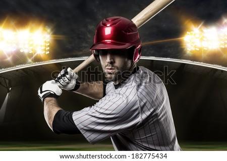 Baseball Player on a baseball Stadium. - stock photo