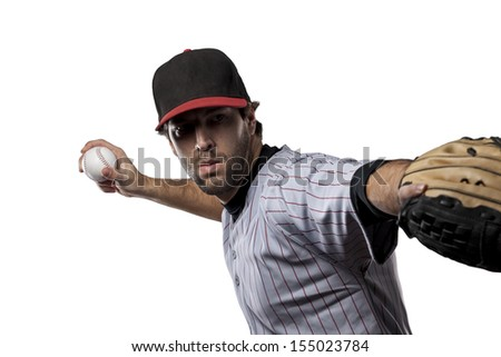 Baseball Player on a White background - stock photo