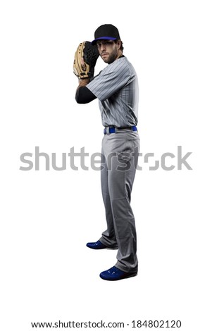 Baseball Player, pitcher, in a blue uniform, on a white background. - stock photo