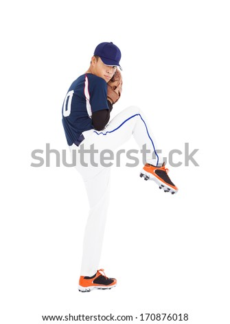 baseball player pitcher ready pose throwing ball  - stock photo