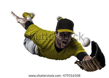 Baseball Player with a yellow uniform on a white background.