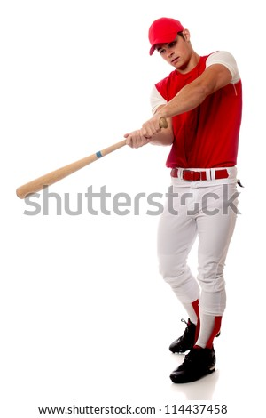 Baseball player with bat. Studio shot over white. - stock photo