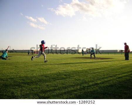 Baseball Season, runner - stock photo
