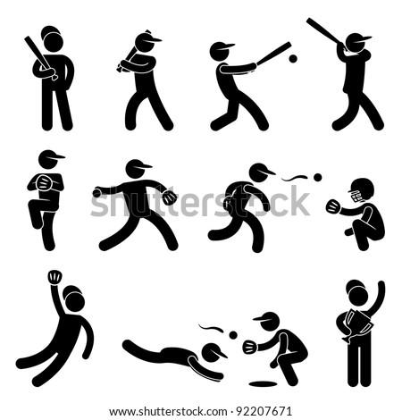 Baseball Softball Swing Pitcher Champion Icon Symbol Sign Pictogram - stock photo